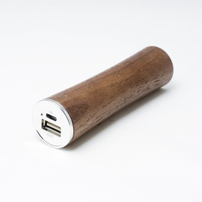 Power Bank Wood Cylinder